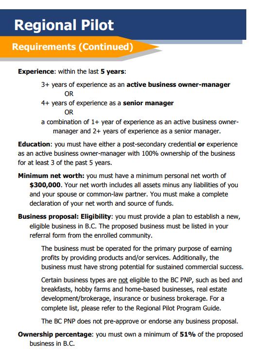 BC PNP Entrepreneurship Immigration Regional Pilot Program ...